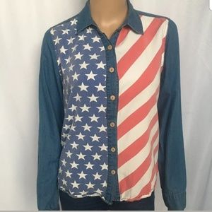 BDG M american flag Button down denim shirt cotton